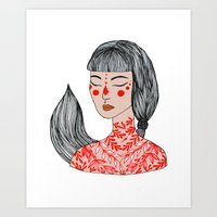 Tattoo Girl Art Print