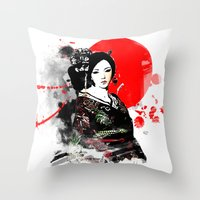 Kyoto Geisha Japan Throw Pillow