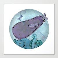Eggplant Whale Canvas Print