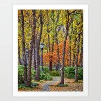 Walking into Autumn Art Print