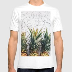 Marble & Pineapple Mens Fitted Tee White SMALL