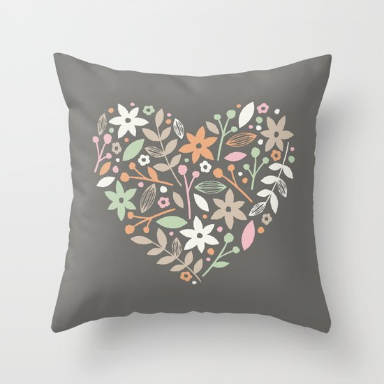 Floral Heart - in Charcoal Throw Pillow