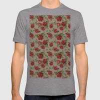 Rose pattern- cream Mens Fitted Tee Athletic Grey SMALL