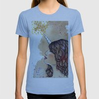 unicorn girl Womens Fitted Tee Athletic Blue SMALL