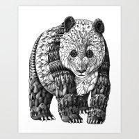 panda Art Prints featuring Panda by BIOWORKZ