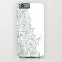 Map Chicago city watercolor map iPhone 6 Slim Case