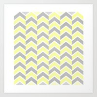 Sun and Clouds Chevron Art Print