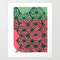 Green and Coral Art Print