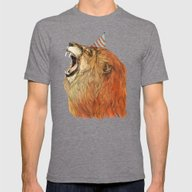 Birthday Lion Mens Fitted Tee Tri-Grey SMALL