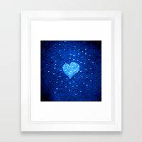 Winter Blue Crystallized Abstract Heart Framed Art Print