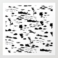Black and white mess Art Print