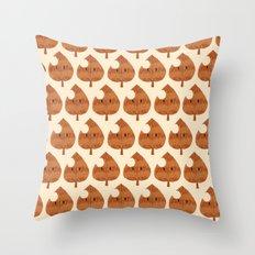 raccoon leaf pattern Throw Pillow
