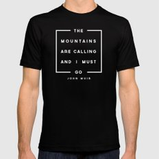 The Mountains are Calling MEDIUM Black Mens Fitted Tee