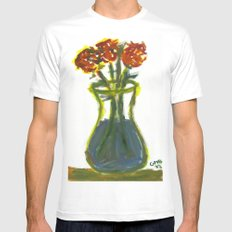 Three Flowers Mens Fitted Tee SMALL White
