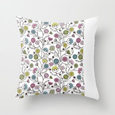 Black Border Florals Throw Pillow