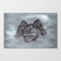 Eros , Amor - Angel and Woman in Love Canvas Print