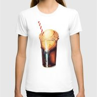 Root Beer Float Pattern Womens Fitted Tee White SMALL