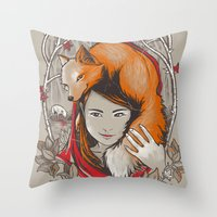 Safe in My Red Riding Hood Throw Pillow