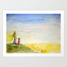 Little Prince, Fox and Wheat Fields Art Print