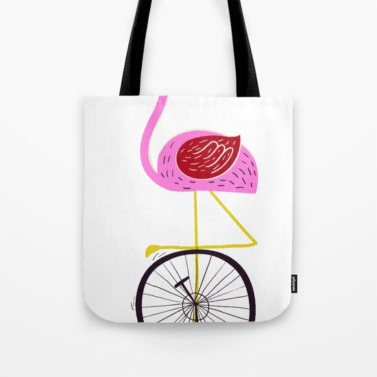flamingo unicycler Tote Bag