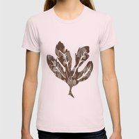 Leaves and Acorns Womens Fitted Tee Light Pink SMALL
