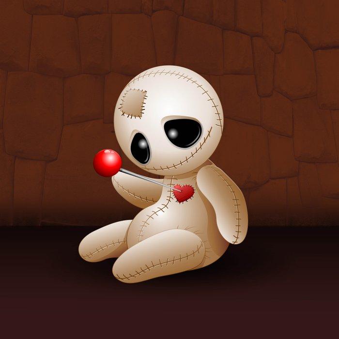 voodoo doll cartoon in love art print by bluedarkart