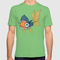 Goldfish in Shark Costume Mens Fitted Tee Grass SMALL