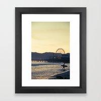 Santa Monica Surfer Framed Art Print
