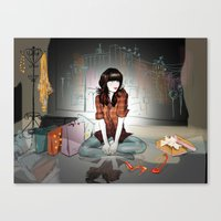 Zooey Deschanel Night Canvas Print
