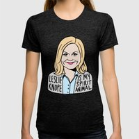 Leslie Knope Is My Spiri… Womens Fitted Tee Tri-Black SMALL