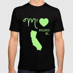 My Heart Belongs in California Mens Fitted Tee Black SMALL