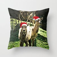Tis The Season - Reindeer Throw Pillow