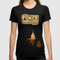 Rey And BB-8 On Jakku Womens Fitted Tee Tri-Black SMALL