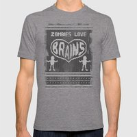 Zombie knitwear Mens Fitted Tee Tri-Grey SMALL