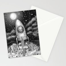 Running Away From Home In A Rocket Ship Stationery Cards