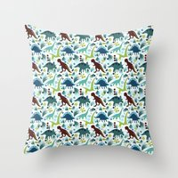 Dinosaur Days (Smaller Print) Throw Pillow