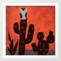 LONE OWL ON CACTUS Art Print