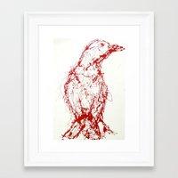 Crow, Red, Bird Framed Art Print