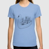 4 Cats On A Boat Womens Fitted Tee Athletic Blue SMALL