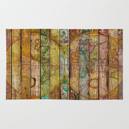 World Map Throw Rug: Around The World In Thirteen Maps Rug By Diego Tirigall