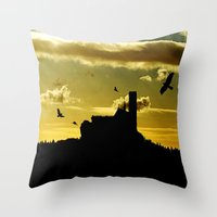 Castle In A Golden Sky Throw Pillow