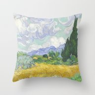 A Wheatfield With Cypres… Throw Pillow