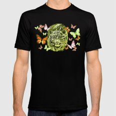 Tiger and Butterflies Mens Fitted Tee Black SMALL