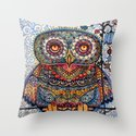 Magic  graphic owl  painting Throw Pillow