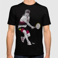 Tennis Agassi Mens Fitted Tee Black SMALL