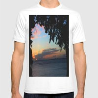 SUNSET BETWEEN TREES. Mens Fitted Tee White SMALL