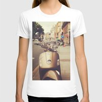 Vespa in Paris Womens Fitted Tee White SMALL