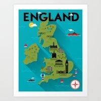 Poster of England Map Art Print
