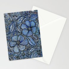 Flowers on blue.  Stationery Cards