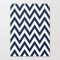 Navy Chevron Canvas Print
